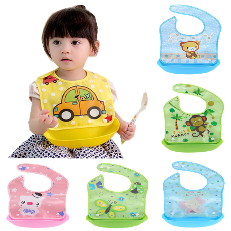 Cartoon Newborn Baby Bibs Silicone Waterproof Baby Feeding Bib Boy Girl Bavoir Bib Infantil Menina Baberos Bebes Bandana Apron cartoon lion pattern waterproof bib green yellow