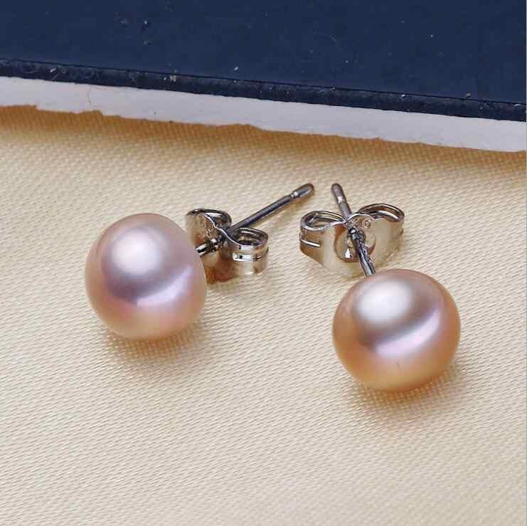 Thật ngọc trai nước ngọt bông tai bạc 7mm 8mmn Bông tai ngọc trai tự nhiên cho phụ nữ Fasion trang sức Trắng hồng tím A580-A585
