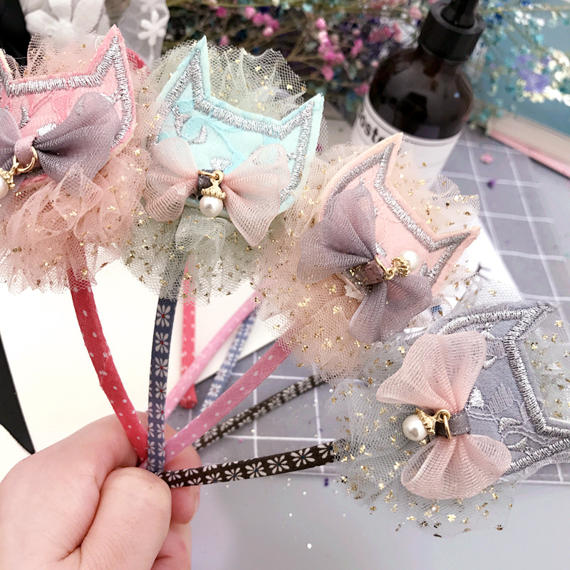 Korea Lace Flower Cat Crown Hair Band Gauze Hair Accessories lovely Embroidery Headband for Girls Hair Band Hair Bow Princess
