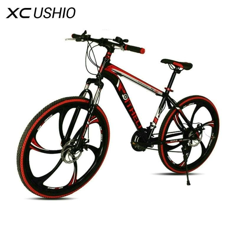 Горный велосипед 21 скорость 26 дюймов велосипедный двойной дисковый тормоз одно колесо переменная скорость велосипед углеродистая сталь го