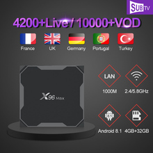 цена на Iptv France Android 8.1 X96 MAX Tv Box 4GB 32GB S905X2 With 1 Year SUBTV Code French Portugal UK Italy Arabic Iptv Subscription