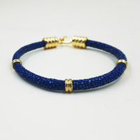 Hot Sell Stingray Skin Bracelet Hand Made Gold Buckle Color One Roll Genuine Stingray Skin Leather