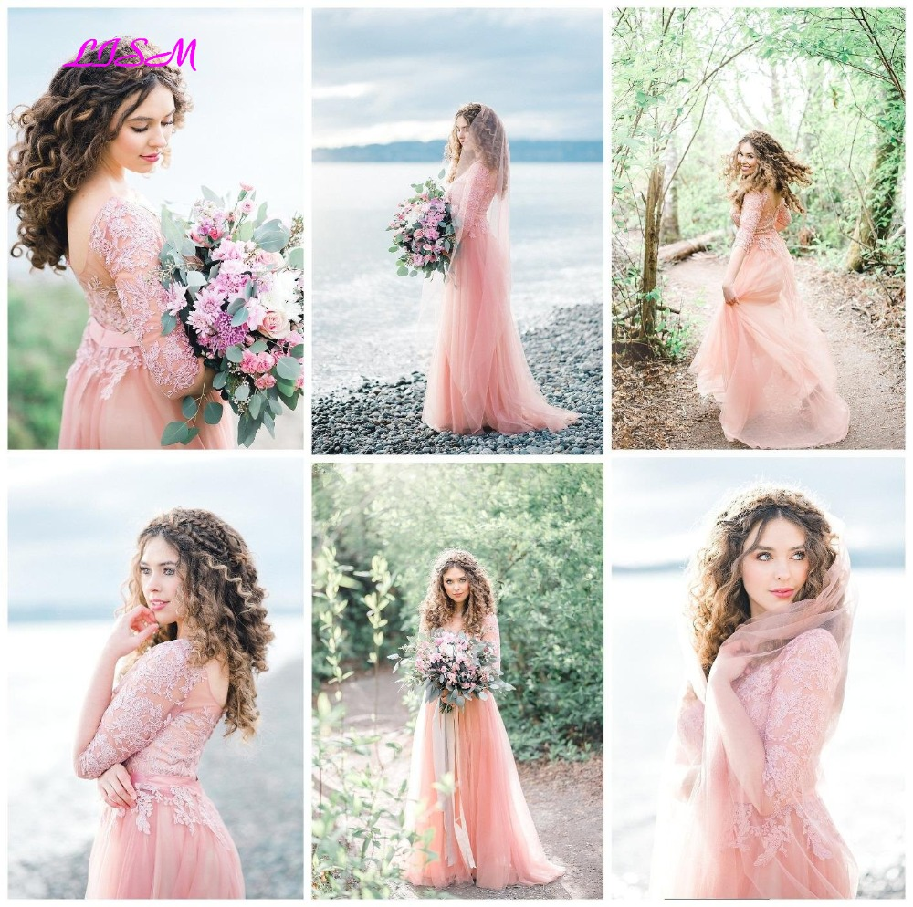 Pink Tulle Long Bridesmaid Dresses A-Line Half Sleeves Wedding Guest Dress Illusion Lace Side Split Prom Dress Formal Party Gown