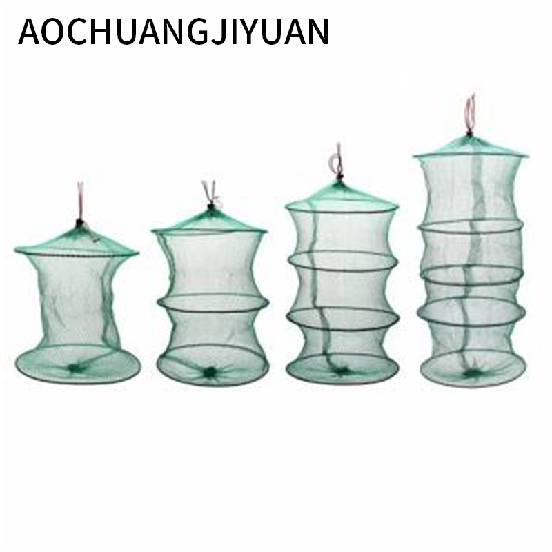 Folding Round Frame Nylon Mesh Crab Crawdad Shrimp Minnow Bait Trap Cast Fish Net Fishing Landing Tackle Accessory Tool