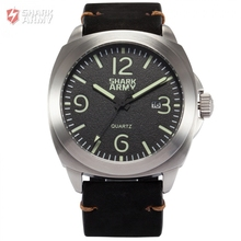 SHARK ARMY Men Relogio Luminous Analog 100m Waterproof Stainless Steel Black Leather Band +Iron Box Outdoor Sports Watch /SAW185