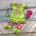 Meninas do bebê Feliz Páscoa roupas meninas roupas de verão e primavera crianças boutique de roupas com colar e tiara
