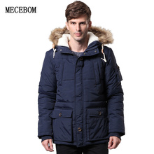 MECEBOM 2017 Men's clothing with a fur collar High-quality cotton woolen jacket winter coat Parka Coat for men BBB806