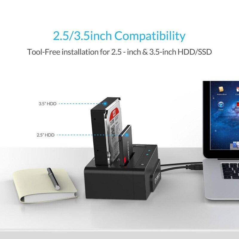 ORICO Station d'accueil 2.5 3.5 double baie USB 3.0 à SATA HDD boîtier ssd disque dur outil gratuit duplicateur 16 to pour Windows Mac OSX9.1 - 2