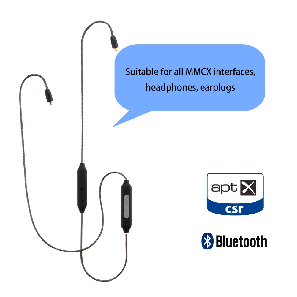 MMCX Apt-X Bluetooth 4.1 Adapter Cable for Shure SE215 SE535 SE846 SE315 UE900 Earphone Replacement Aptx Cables HIFI Headset original mmcx cable for shure se215 se535 se846 earphones upgrade replacement cables with remote mic volume control headset wire