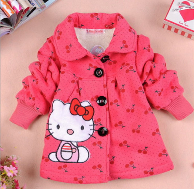 Retail 2015 New Girls Hello Kitty Winter Coat Children Fashion Think Outerwear Kids Warm Lovely Jackets In Stock f151255