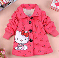Venta al por menor 2015 Nuevas Muchachas Del Hello Kitty Piensan Abrigo de Invierno Niños de La Manera ropa de Abrigo Niños Chaquetas Encantadoras En Stock f151255