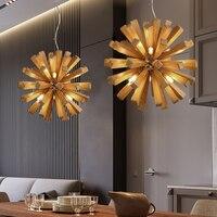 Одуванчик Бал деревянные подвесные светильники висит твердая древесина лампы столовая ресторан светильники внутренней отделки подвесной