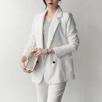 Work Fashion Pant Suits 2 Piece Set For Women Sexy Business Striped Blazer Jacket & Trouser Office Lady Suit Feminino 2019 New