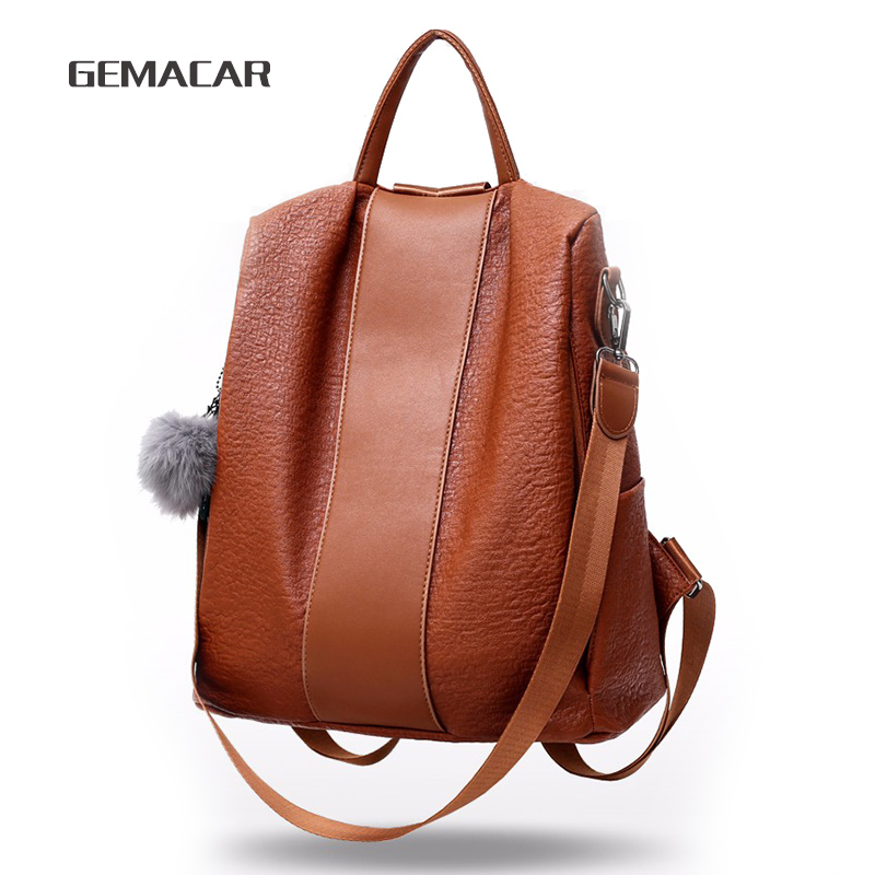 Women's Waterproof Backpack Casual Female Bag Anti-theft Bagpack Lightweight School Shoulder Bag PU Leather Black Brown