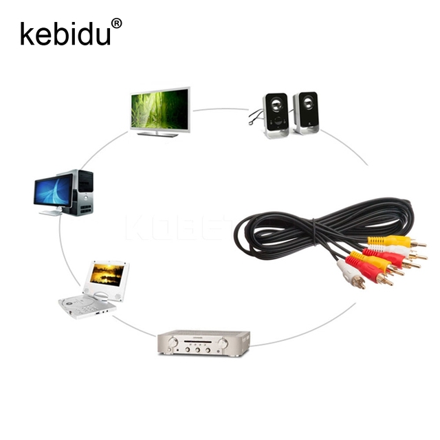 Kebidu 30pcs 100CM 3 RCA to 3 RCA Male to Male Audio Video TV Cable ...