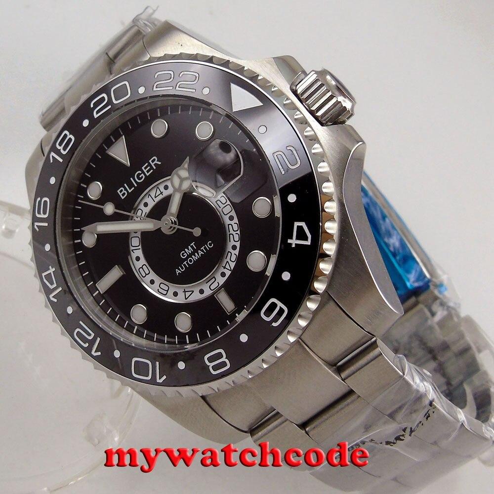 лучшая цена 43mm bliger black dial luminous mark GMT sapphire glass automatic mens watch 206