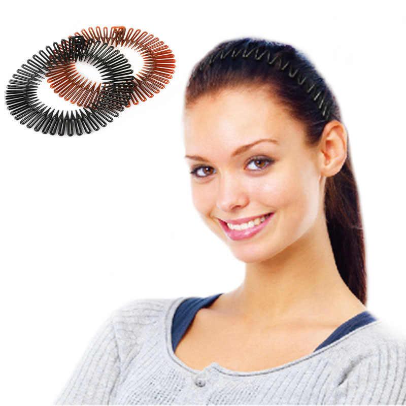 Sevimli 5 adet/grup plastik tam daire esnek esnek tarak diş kafa bandı saç bandı klip yüz yıkama sabit saç aksesuarları