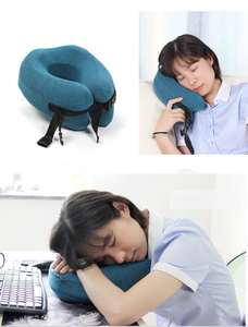 Image 5 - Adjustable U Shape Memory Foam Travel Neck Pillow Foldable Head Neck Chin Support Cushion for Sleeping on Airplane Car Office