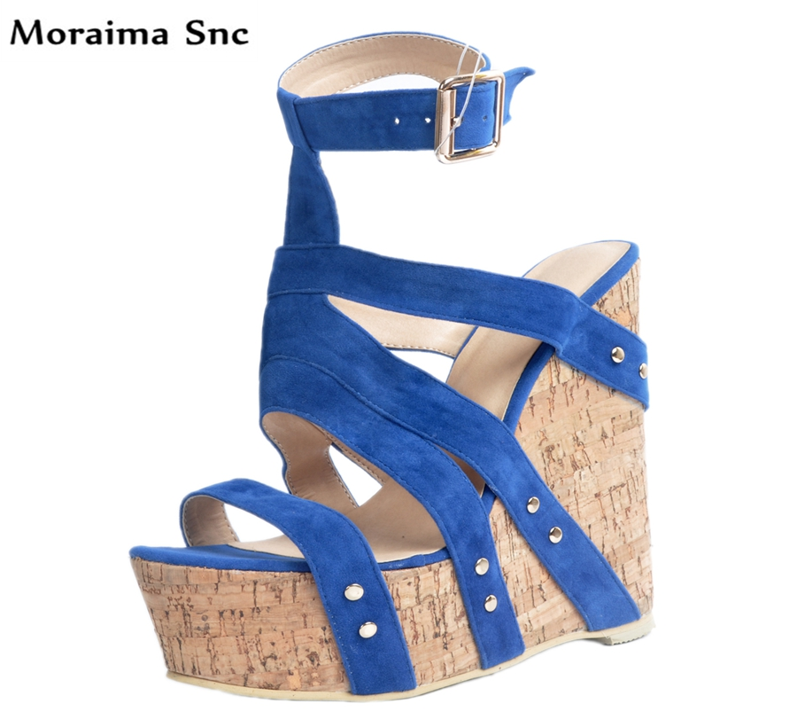 Здесь продается  Moraima Snc hot selling fashion women sandals shallow high platform peep toe wedges Ankle strap vintage suede  Обувь