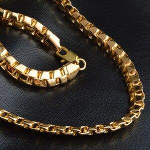 Image 4 - OMHXZJ بالجملة شخصية رجل الموضة الذكور حفل زفاف هدية الذهب 8 مللي متر صندوق سلسلة 18KT الذهب سلسلة قلادة NC150
