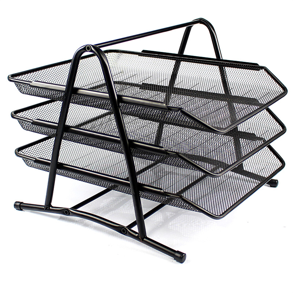 Office Filing Trays Holder A4 Document Letter Paper Wire Mesh Storage Organiser Desk Document File Organizer Tray Tabletop 1 set business file tray diy desktop magazine a4 file organizer document trays office supplies stationery random color