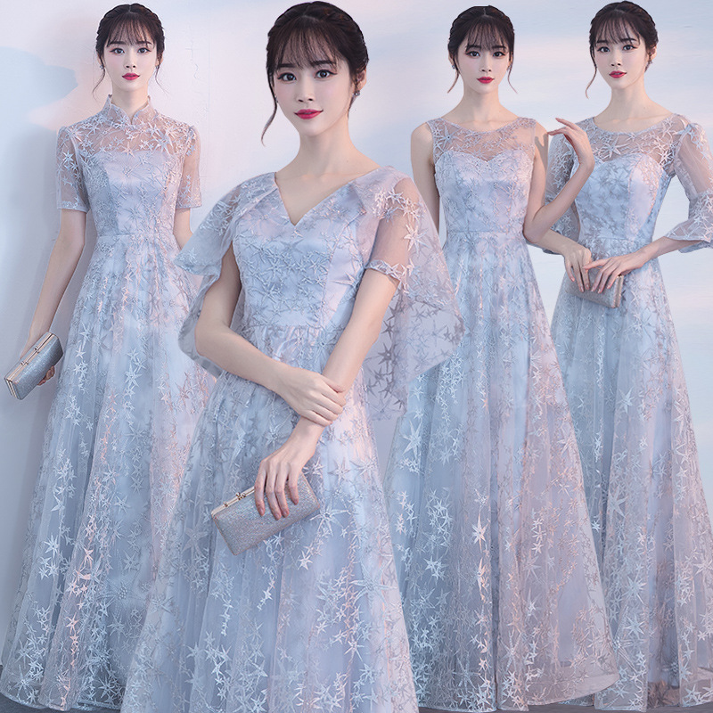 Gray Lace Oriental Style Banquet Dresses Chinese Vintage Wedding Cheongsam Elegant Long Evening Party GownsSize XS - XXL