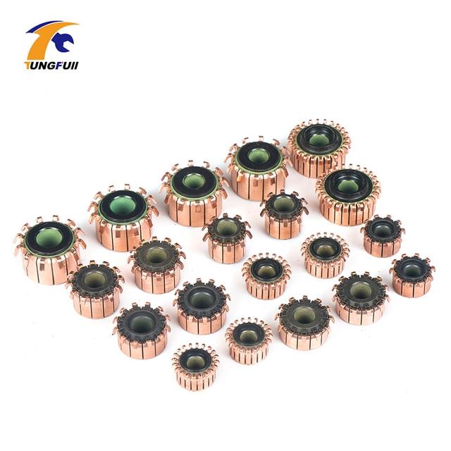 TUNGFULL 2 piezas de alambrón de cobre del Motor del alternador de colector de cobre tonos latón Motor de Micro-perforado para armadura de marcha atrás