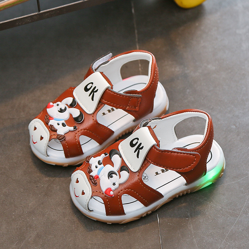 Hot Selling Fashion Summer Baby Kids Toddler Newborn New Arrival children puppy led Luminous light sandals Soft-Soled Baby Shoes