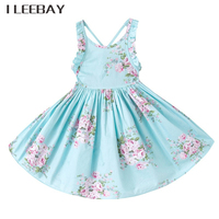 2017 Baby Girls Wedding Dress Brand Summer Beach Style Floral Print Party Backless Princess Dresses Vintage