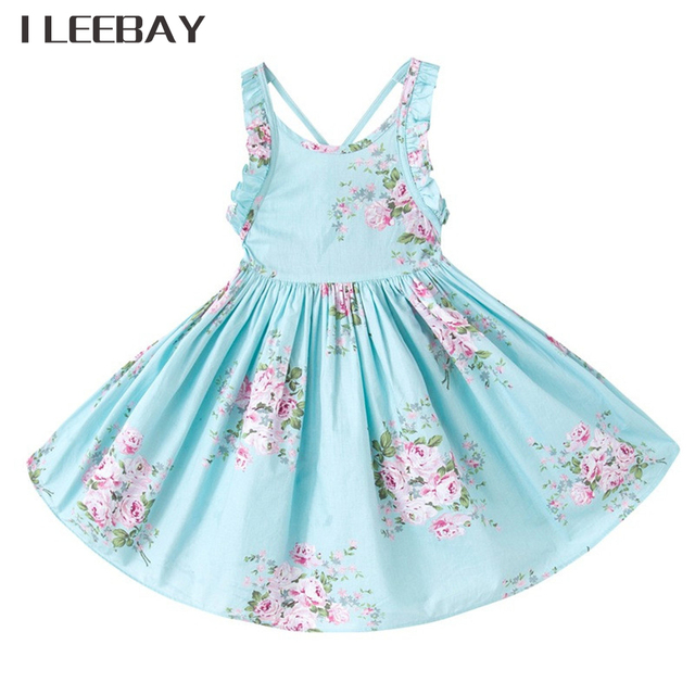 574702cf73d9 2018 Baby Girls Wedding Dress Brand Summer Beach Style Floral Print Party  Backless Princess Dresses Vintage Toddler Girl Clothes