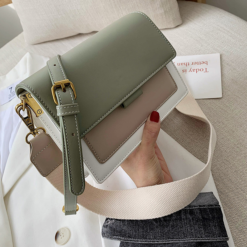 Contrast color Leather Crossbody Bags For Women 2019 Travel Handbag Fashion Simple Shoulder Messenger Bag Ladies Cross Body Bag(China)