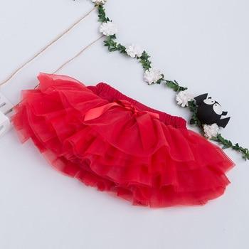 Cute Bow Baby Girls TuTu Skirt Ruffle Bloomer Ball Gown Rose Red Fuffy Pettiskirt Baby 6 Tulle Layer Children Clothing 1