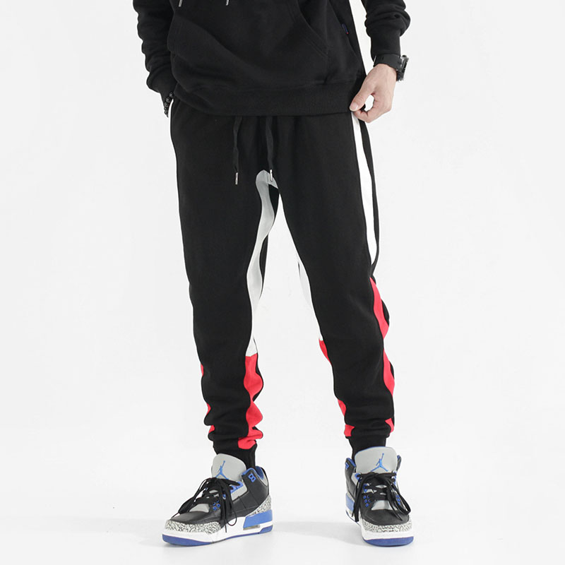 Fashion Streetwear Men Casual Pants White Red Side Stripe Spliced Designer Joggers Pants Slack Bottom Hip Hop Sweatpants Men(China)
