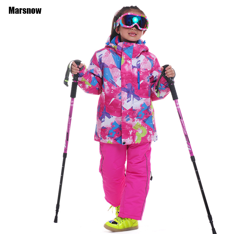 Ski Suit winter Jacket + Pants 110-160 New waterproof keep warm Outdoor Thicken Children kids winter snow set for girls 2016 new brand children snow runner self balance scooter snow bicycle for kids ski kits
