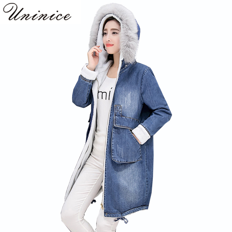 womens parkas with fur hoods winter warm long denim jeans Velvet hooded long ladies wool coat jacket 2017 plus size blue clothes