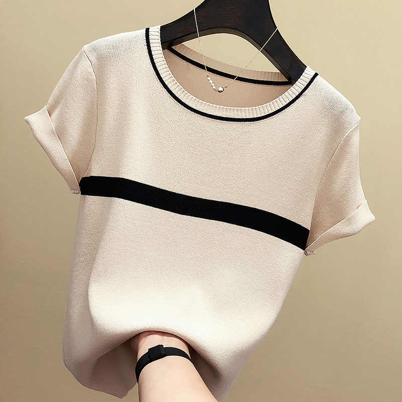 shintimes Thin Knitted Cotton T Shirt Women 2019 Summer Woman Short Sleeve Tees Tops Striped Casual T-Shirt Female Tshirt Femme