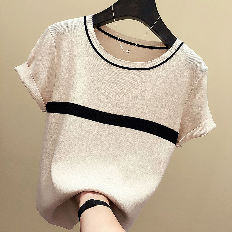 Shintimes Thin Knitted T Shirt Women Clothes 2020 Summer Woman Short Sleeve Tees Tops Striped Casual T-Shirt Female Tshirt Femme