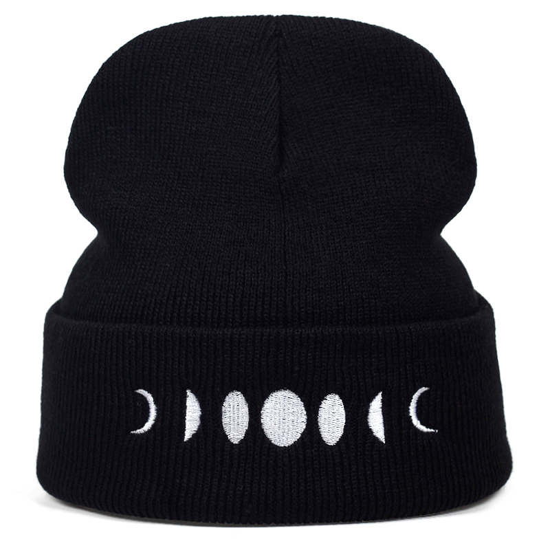 Unisex Moon Embroidery knitted hat women Men hat Moon Winter Knitted Wool Cap Hip-Hop   Skullies   hat   Beanie   Hats Casual Gorro cap