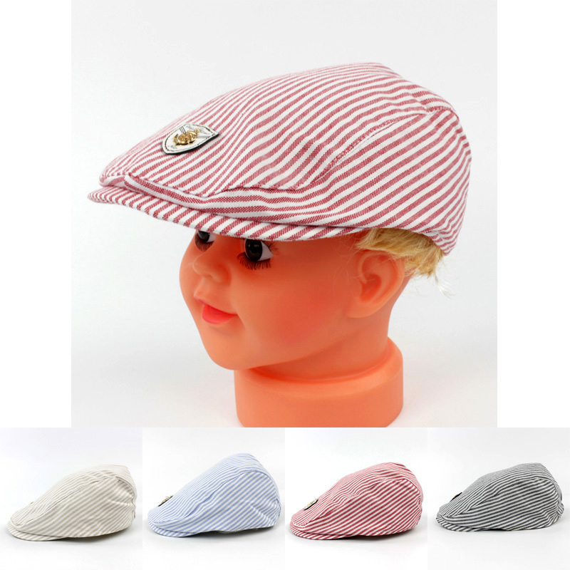 813966a5fe52 New Fashion Stripe Plaid Design Baby Beret Hat Cool Gatsby Newsboy Golf  Boys Flat Cap outdoor cotton Sun Cap-in Hats & Caps from Mother & Kids on  ...