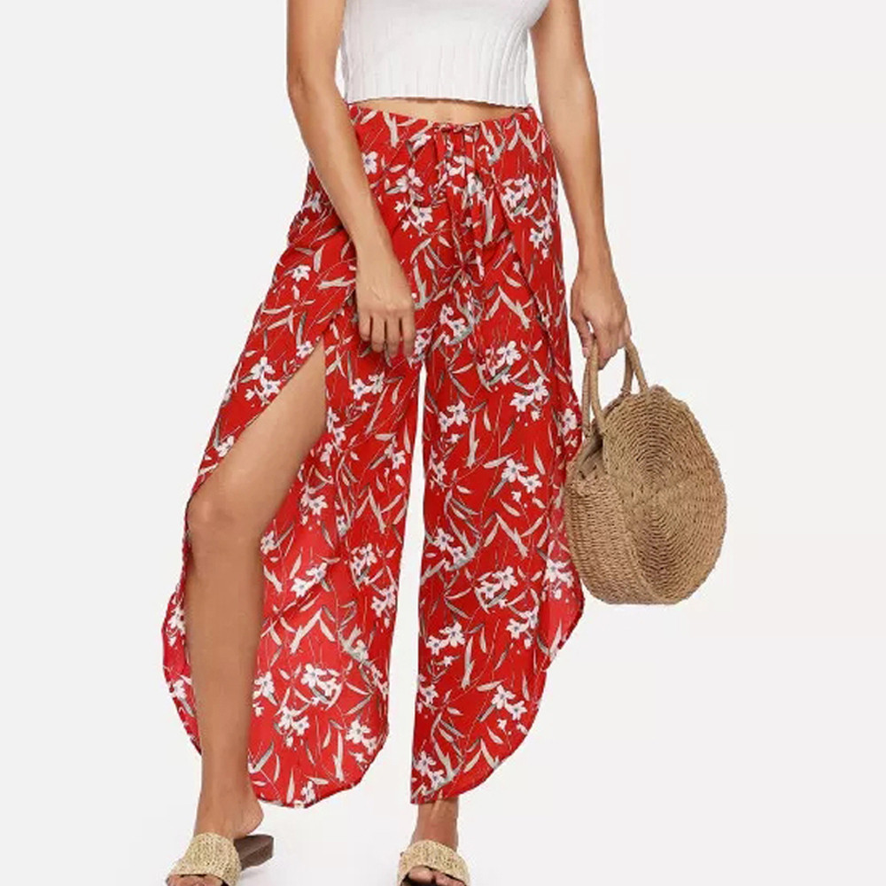 Women Casual Loose Floral Print Trousers Baggy Boho Aladdin Beach Pants 2019 New Patterns Modern