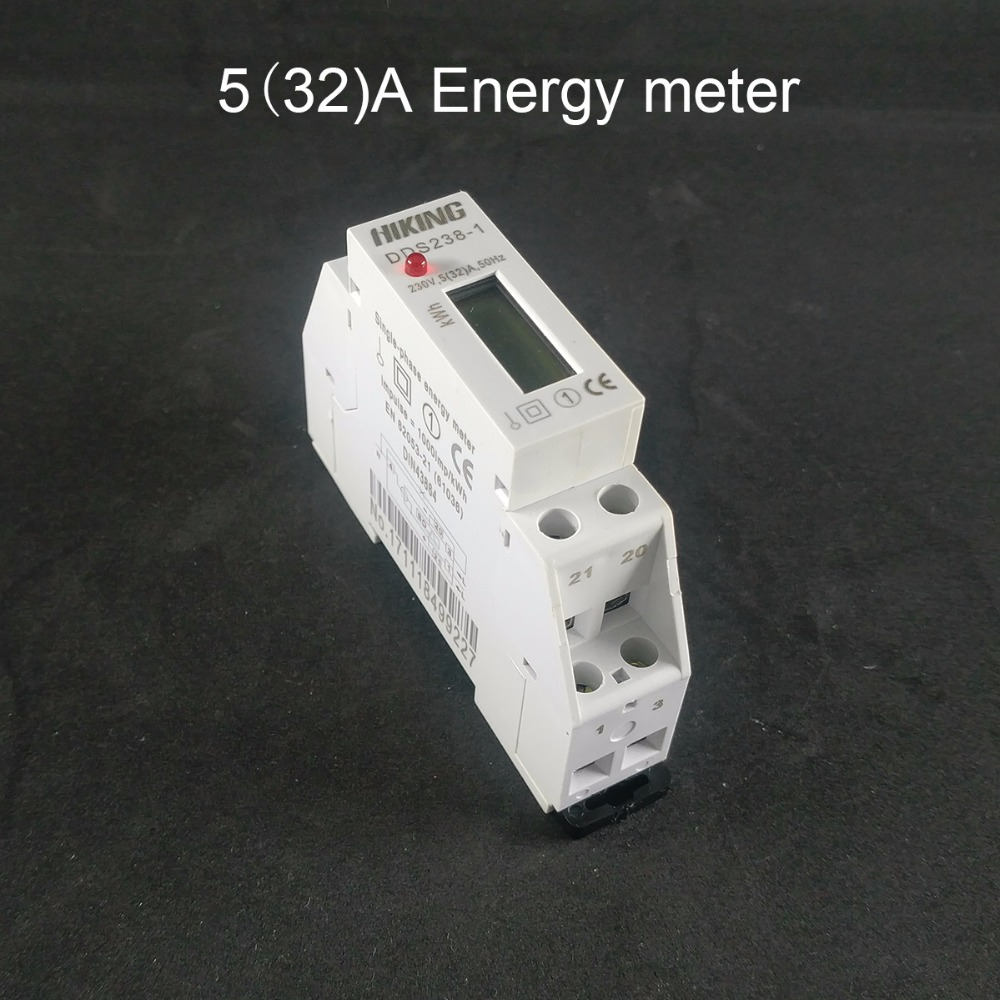 5 (32) A 230 V 50 HZ monofase su guida Din KWH Watt ora din-rail energy meter LCD