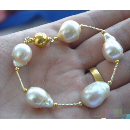 free shipping P4015 8 16mm pink BAROQUE KESHI REBORN PEARL gild 5star bracelet@^Noble style Natural noble style page 5