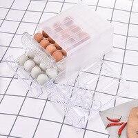 1Pcs 24grid double layer egg storage boxes/Drawer idded kitchen refrigerator storage box crisper