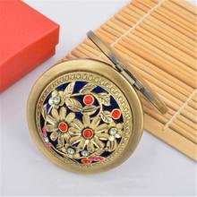Модные зеркала для макияжа Подарочное стекло алмазное украшение компактное туалетное зеркало винтажное бронзовое