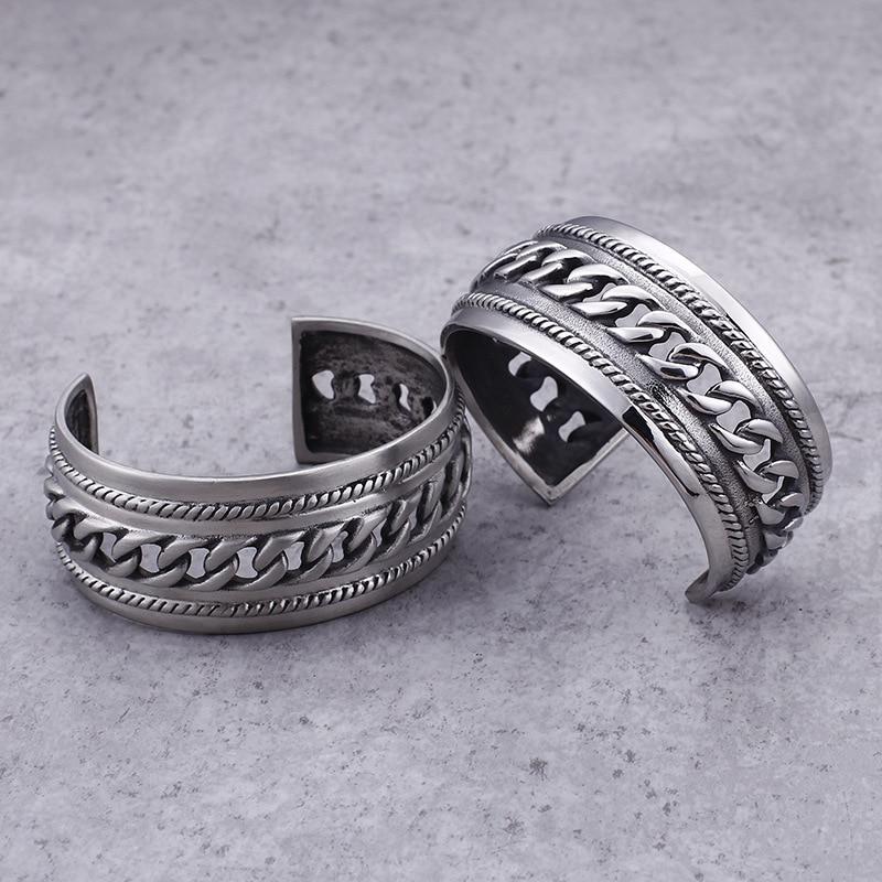 European and American Punk Bracelet Titanium Steel Men's Vintage Chain Open Bracelet Rough Wide Bracelet
