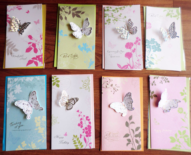 8pcs/set Creative 3D Butterfly Greeting Cards With Envelopes For