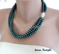 Wholesale Gem Jewelry 3 Strands Green Bridal Glass Pearl Necklace With Rhinestone Clasp Brides Bridesmaids XZN163