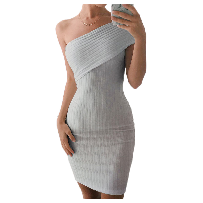 Women Elegant Knitted Spring Summer Autumn Dress Knee Length Off One-shoulder Gray Bodycon Bandage Sexy Party Dress Dresses
