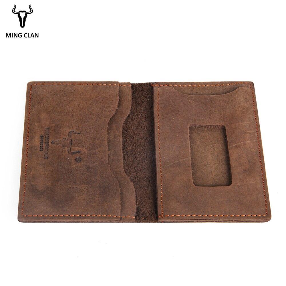 Mingclan Plånbok Crazy Horse Slim Mini Plånbok Genuin Läder - Plånböcker - Foto 5