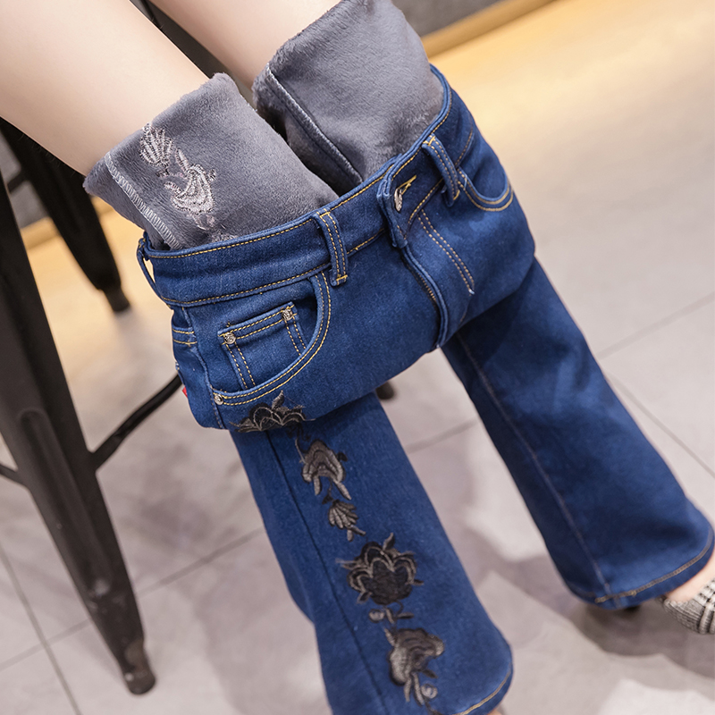 Autumn winter plus velvet thick high waist   jeans   female Denim Flare Pants national wind embroidery flower micro-horn trousers